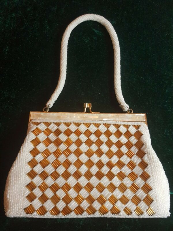 Vintage Gold and White Checkerboard Style Beaded Evening Purse
