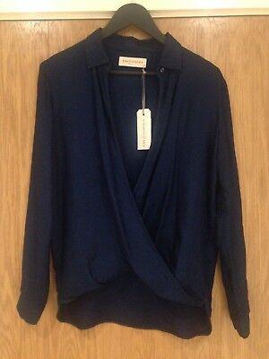 Designer King Tuckfield Woman's Medium Bright Blue Wrap Shirt 100% Tencel BNWT