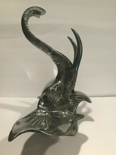 Elephant Head Silver Tone Metal Wall Hanging Decor