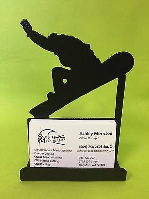 Metal Snowboarder Desktop Business Card Holder