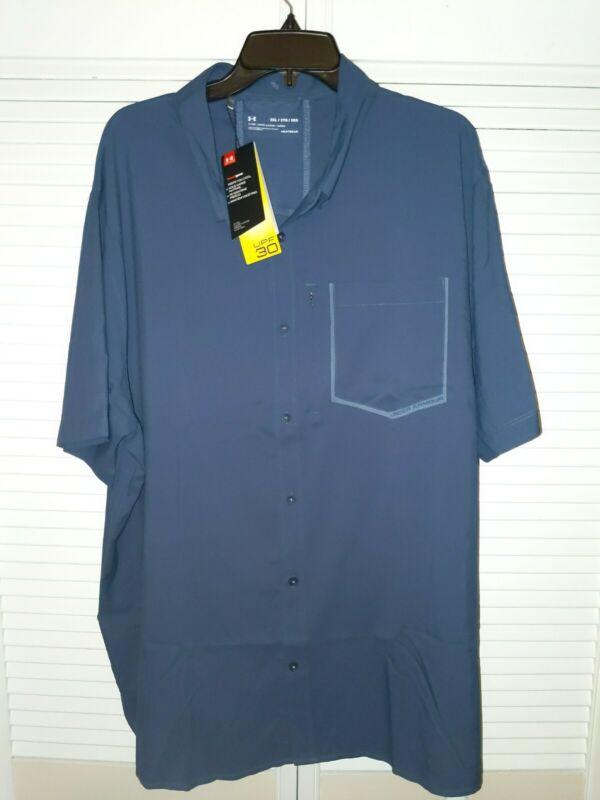 Under Armour UA High Tide Short Sleeve SHIRT Blue Ink 3XL 1353335 Button Down