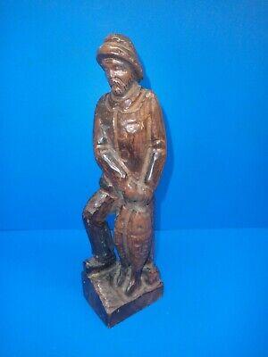 Old Fisherman Sailor Man Carved  Wooden Figure Nautical  31CM