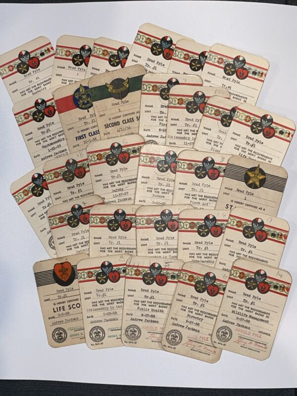 30 Boy Scouts BSA Star Scout Certification Card from 1956 - 1962 Andrew Jackson