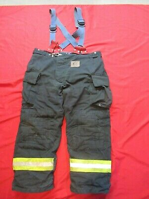 Morning Pride Fire Fighter Turnout Pants 44 X 31 Black Bunker Gear Suspenders