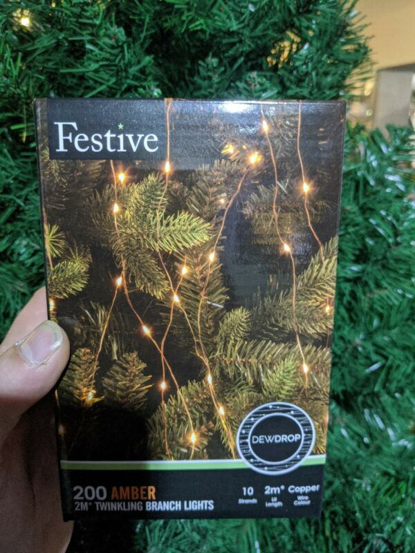 200+Amber+LED+Christmas+Tree+Branch+Lights+-+2m