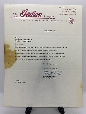 Original Vintage 1959 Indian Motorcycle Co. Letter To Horace Fritz Reading, PA.