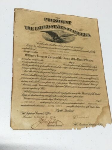 ORIGINAL 1918 US Army Officer Reserve Corps Certificate SIGNED Benedict Crowell