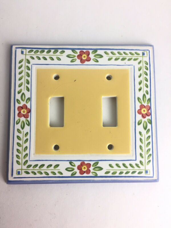 All Fired Up Light Switch Plate Outlet Ceramic Covers Flower Made In Canada