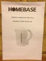 Instructions Manual Quick Start User's Guide For Homebase White Cordless Kettle - homebase - ebay.co.uk