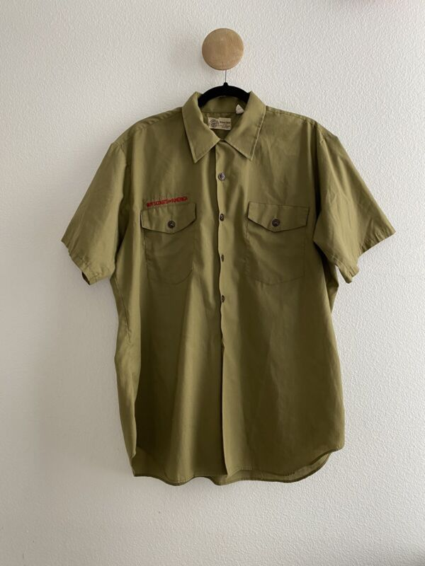 Vintage Boy Scouts Of America Short Sleeve Green Official Shirt Uniform 1970s
