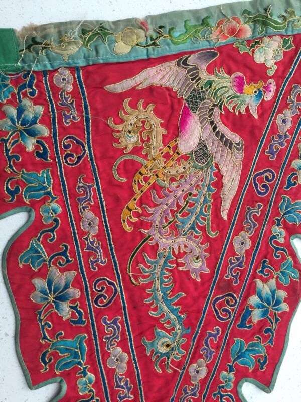 AUTH 2 SIDE CHINESE RED SILK QING OPERA FLAG*EXC EMBROIDERY PHOENIX*GOLD THREADS