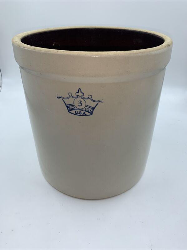 Vintage #3 Gallon BLUE CROWN  USA Crock Stoneware -Robinson Ransbottom