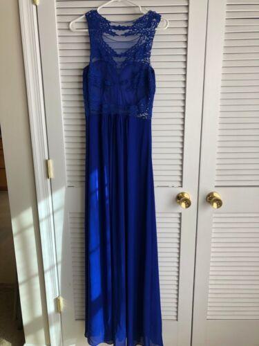 Royal Blue Prom Dress size M, Formal Illusion neckline Women's Medium Dress