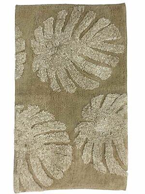 Threshold Plush Ivory & Beige Tufted Leaf Bath Rug, Throw Mat 20x34 Leaves Bath Rug