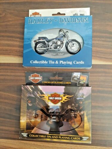 2 HARLEY DAVIDSON COLLECTIBLE TIN PLAYING CARDS 2000 & 2001 NEW ORIGINAL PACKAGE