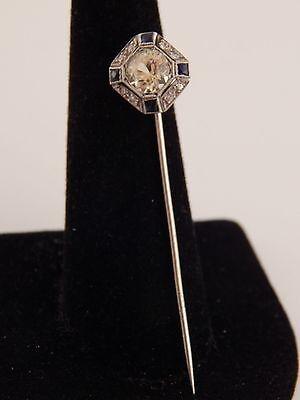 1.99 tcw Art Deco Stick Pin Old Mine Cut Yellow Sapphire Diamond H/SI Platinum