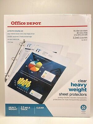 Office Depot Top-loading Sheet Protectors Heavy Weight Clear Pack Of 50 3.3 Mil