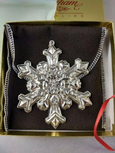 1995 Gorham Sterling Silver Snowflake Ornament New, Unused, w/box & bag