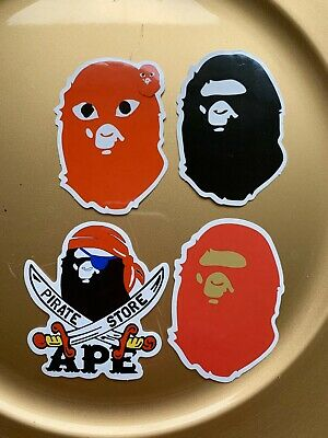 "A Bathing Ape Bape 3"" Vinyl STICKER Lot Skateboard Car Bumper Supreme Pirate New"