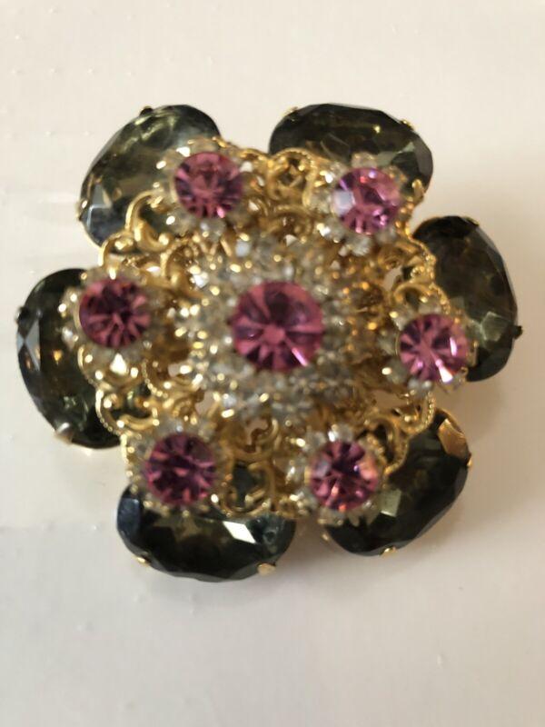 Vintage Rhinstone Brooch Gorgeous Stunes Estate Jewelry