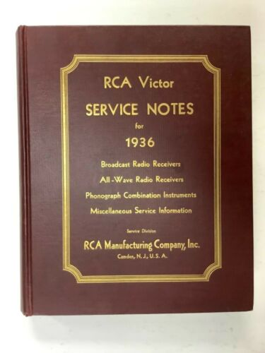 """RCA Victor Service Notes """"Red Book"""" Manual For 1936 - Original First Edition"""