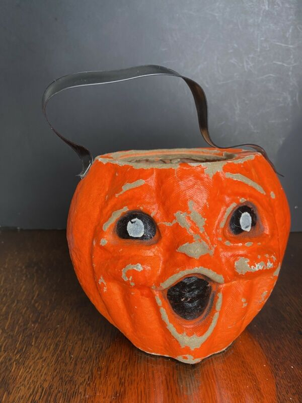 "Antique Paper Mache Pumpkin Candy Container Nut Cup 5.5"" Halloween Jack"