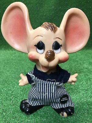 Vintage Huron Products Ernie Engineer Bank Mouse Molded Plastic Rare
