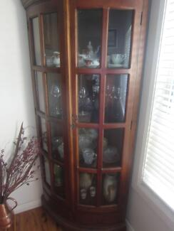 Timber and glass corner display cabinet