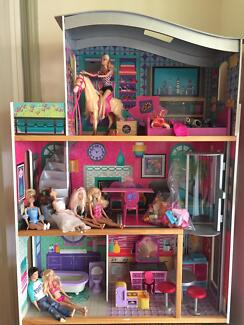 Dolls House with Accessories and Barbie Dolls Capalaba Brisbane South East Preview