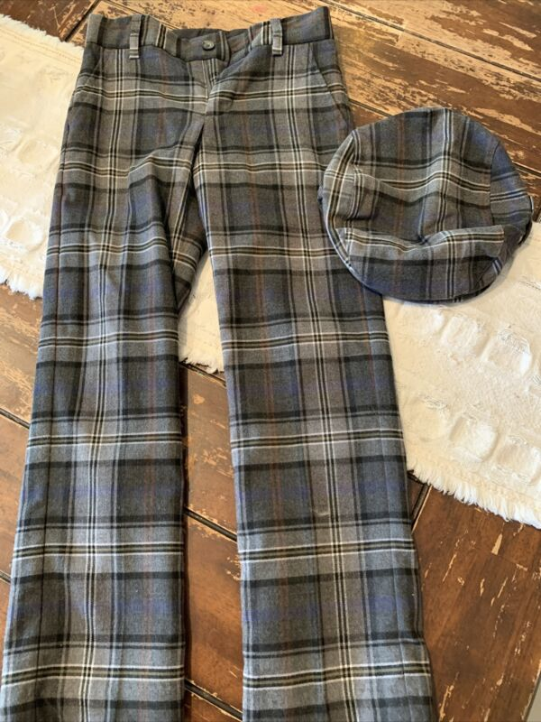 NWOT Janie And Jack Boys 7 Plaid Pants Trousers Newsboy Cap Hat