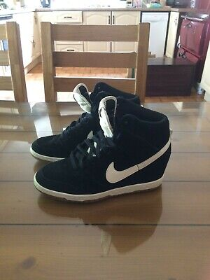 Rare Nike Dunk Sky Hi Black Suede Wedge Trainers UK 6 Excellent Condition