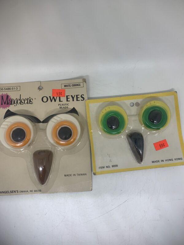 Vtg Lot Of 2 Macrame Owl Eyes Plastic Beads White/Orange  Yellow/green NOS