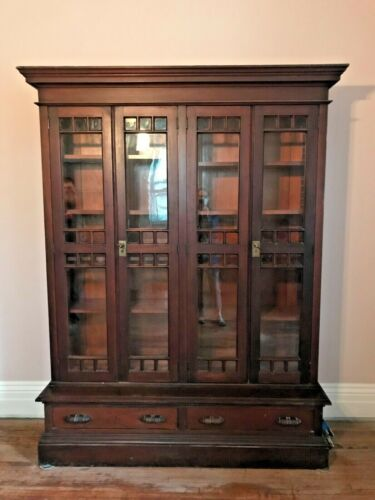 Bookcase Glass Doors, Walnut c1900 Arts and Crafts Style