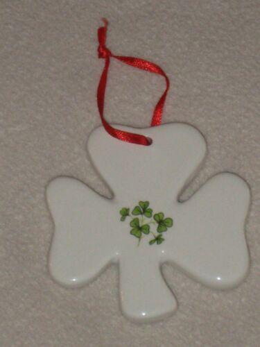 Porcelain White Shamrock Christmas Ornament Made in Ireland St. Patricks Day