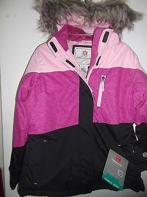 Free Country Girls Winter Coat Size 14 Pink, Purple and Black with Faux Fur - Pink And Purple Faux Fur