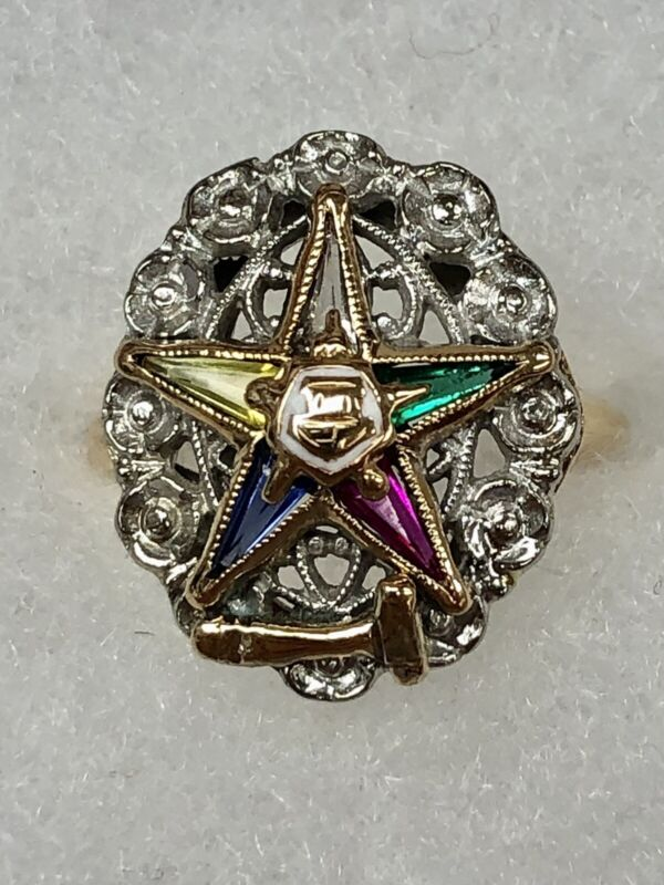 10 K Solid Two Tone Gold Order Of Eastern Star Ring size 6.5