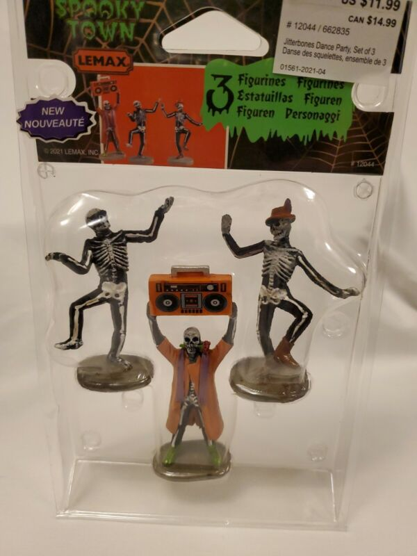 """Lemax, Spooky Town, """"Jitterbones Dance Party"""" Set Of 3, 2021"""
