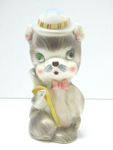 "Vintage SQUIRREL ceramic ANTHROMORPHIC planter Hat Cane JAPAN Pastel Colors ~ 6"""