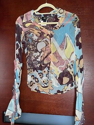 Roberto Cavalli Blouse Top Shirt S US 4-6 IT 42 Multicolored Silk