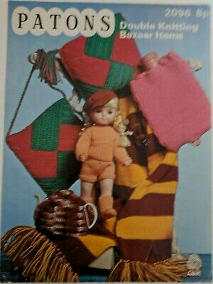 vintage knitting pattern Patons 2096 to make bazaar items inc dolls clothes