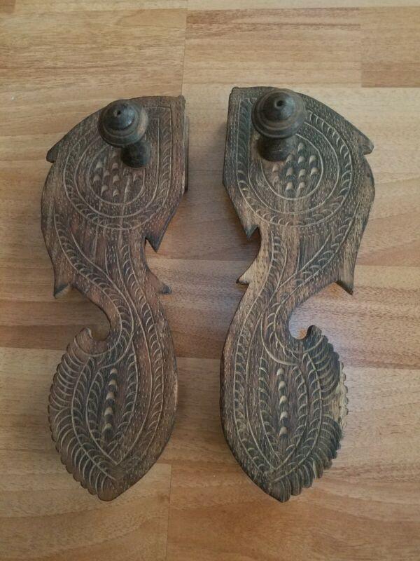 Vintage Antique Paduka Shoes Sandals Indian Hand Carved Wood