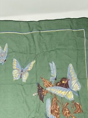 Vintage Scarf Styles -1920s to 1960s Cacharel Silk Scarf Green Butterflies Sheer Vintage $15.00 AT vintagedancer.com