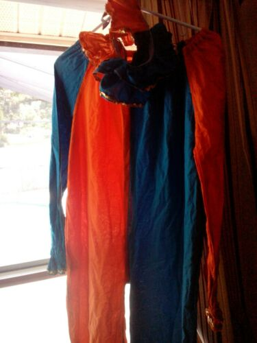 Vintage mens med Clown Halloween Costume Handmade 1970s with collar free ship