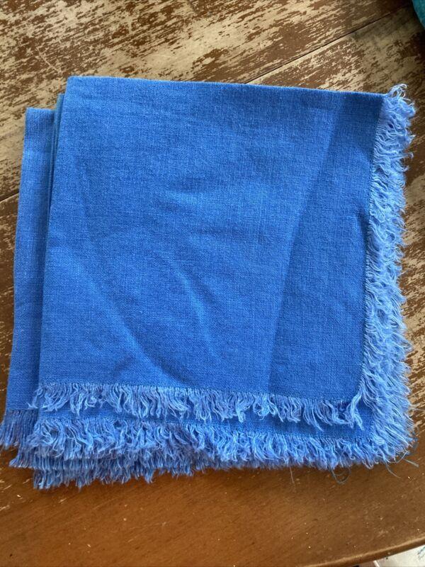 Vintage Blue Midcentury Fringed Linen Napkins Set Of 8