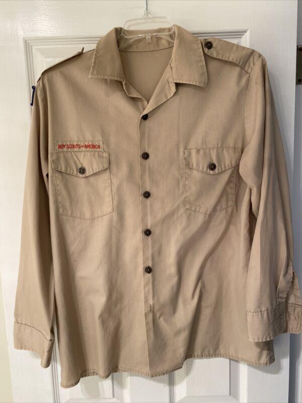 Boy Scout BSA UNIFORM SHIRT Mens Large Long Sleeve Tan I22