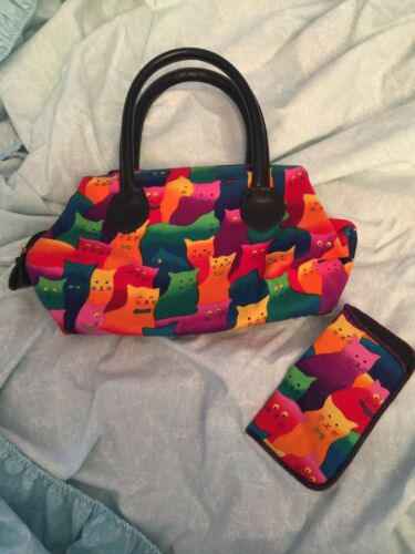 COLORFUL CAT PURSE SATCHEL HANDBAG KITTY KITTENS Matching  CATEYE Glasses holder