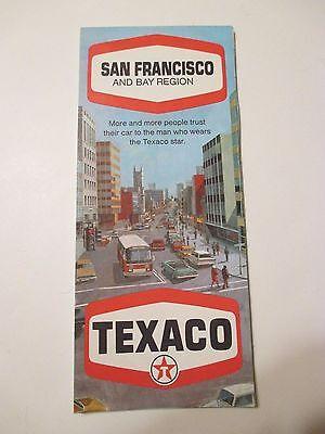 Vintage 1969 TEXACO SAN FRANCISCO & BAY CA Oil Gas Service Station Road Map