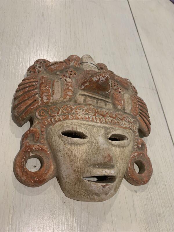 Clay Pottery Face Mask Wall Hanging Folk Art Aztec Mayan