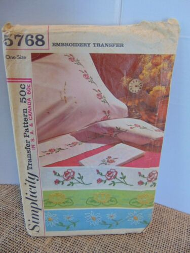 Vtg Simplicity Embroidery Transfer Pattern #5768 Floral Roses Daisies