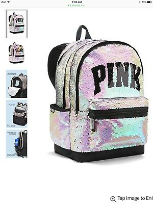Victorias Secret PINK 2108 CAMPUS Backpack BLING SILVER GOLD SEQUINS - BRAND NEW - Sequin Pink Backpack